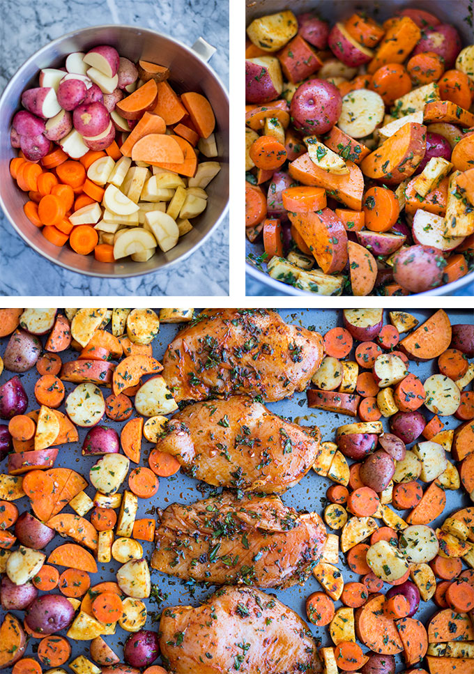 process of mixing vegetables together and spreading them on a sheet pan with chicken