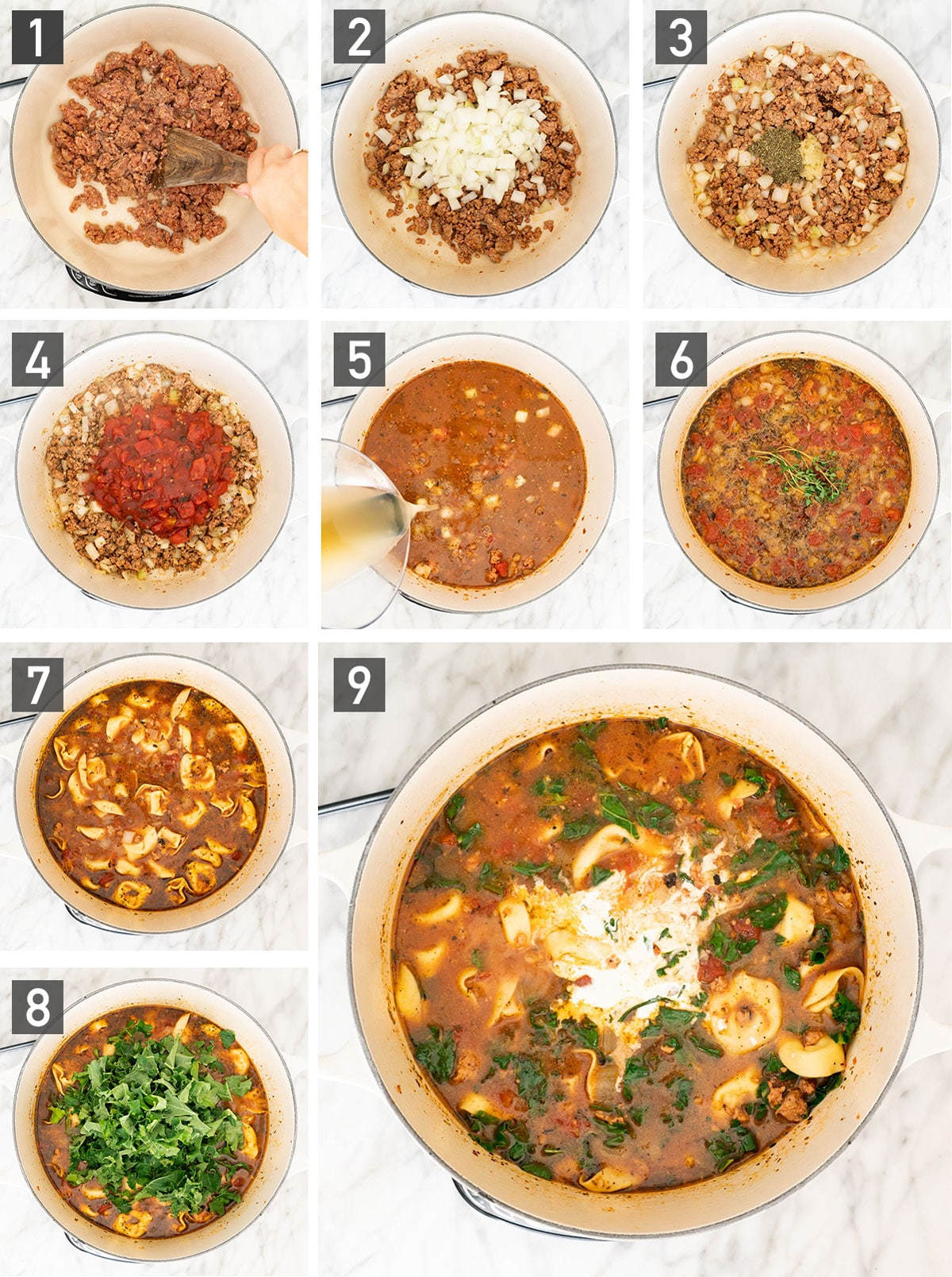Step-by-step instructions for making creamy tortellini soup with sausage